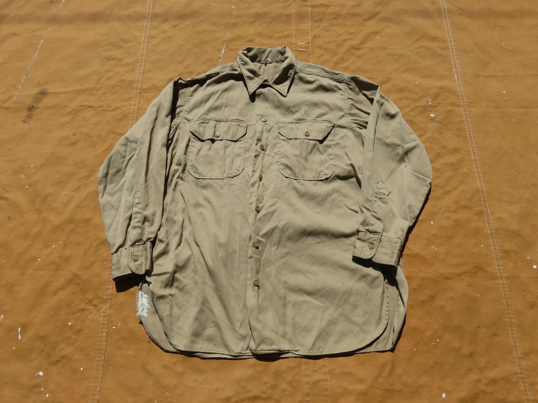 1940s Men's Shirts, Sweaters, Vests Large 40S Us Army Cotton Khaki Uniform ShirtButton Up Down, 1940S Ww2 Wwii $55.00 AT vintagedancer.com