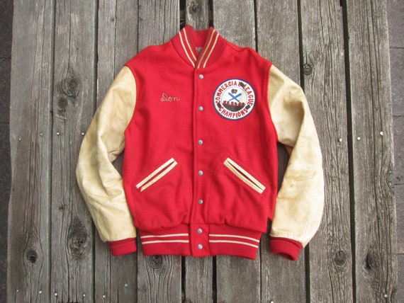 Small 50s Wilson Letterman Jacket / 1950s, Red Woo