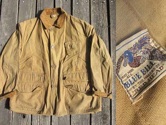 2c94d1a31e6c0 Large 40s Blue Bill Hunting Jacket / Red Head Brown Duck   Etsy