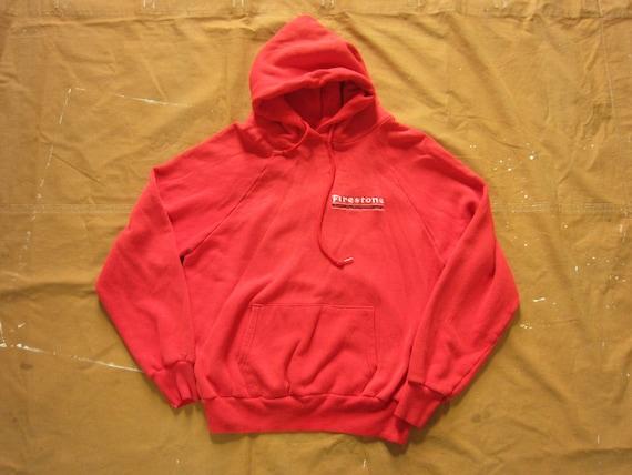Small / Medium 80s Faded Red Hoodie / Firestone, T