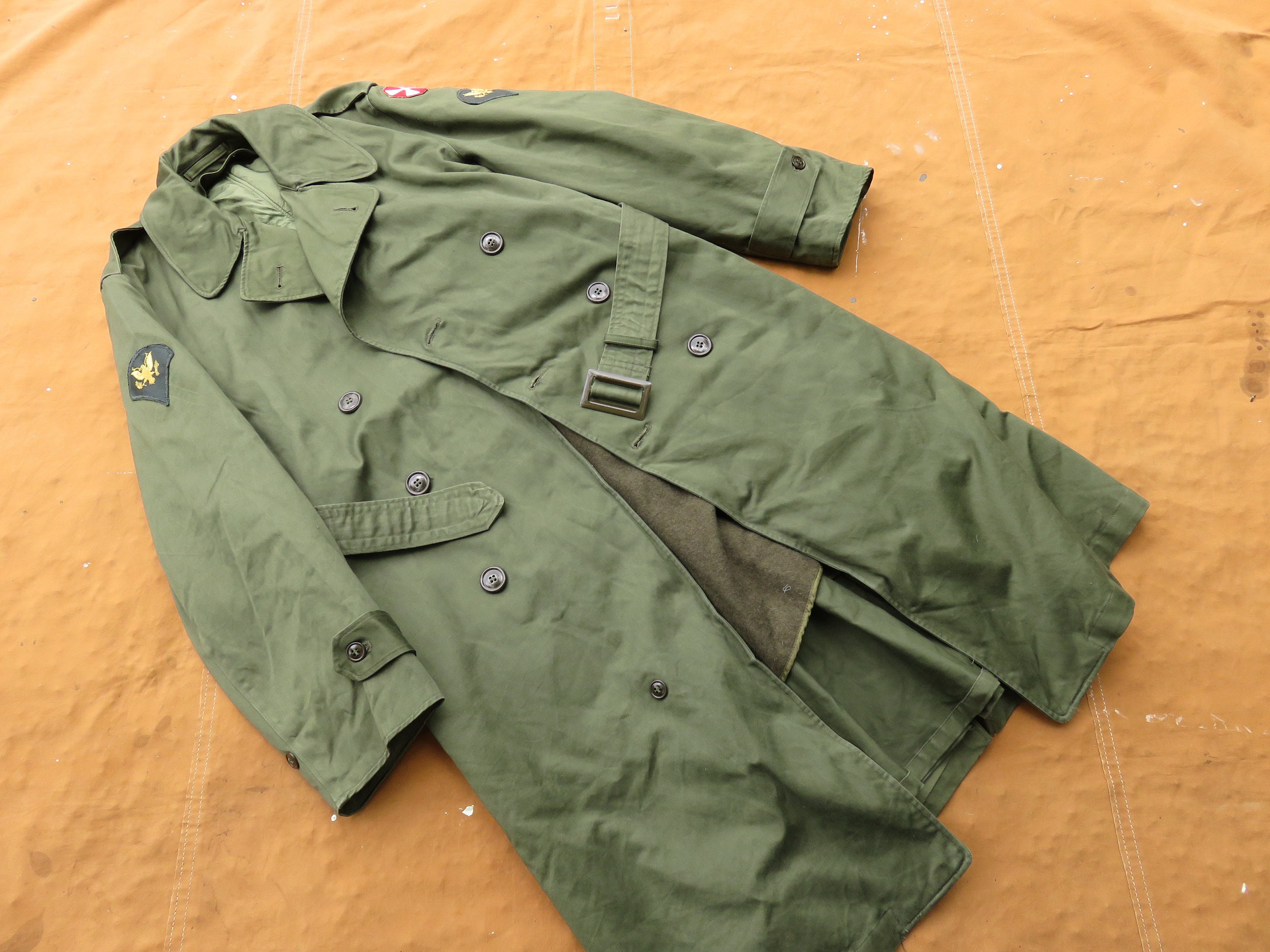 1950s Mens Hats | 50s Vintage Men's Hats Small 50S Us Army Cotton Sateen Trench CoatBelted, Lined, Removable Liner, 1950S $90.00 AT vintagedancer.com