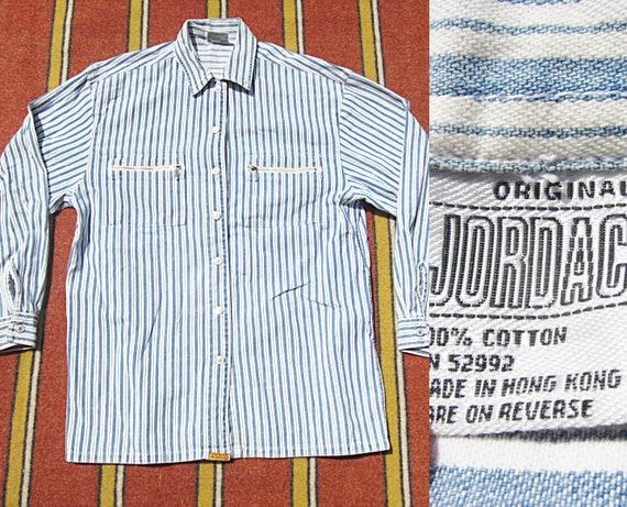 816089f6476 Medium 80s Jordache Striped Cotton Work Shirt   Button Down