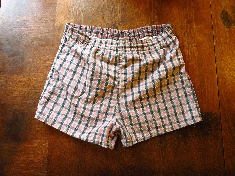 1950s Mens Suits & Sport Coats   50s Suits & Blazers Medium 40S50S Plaid Swimsuit Mens Swim Trunks, Suit, Bathing 1940S 1950S, Campus, Surfing, Shorts 32 34 $80.00 AT vintagedancer.com