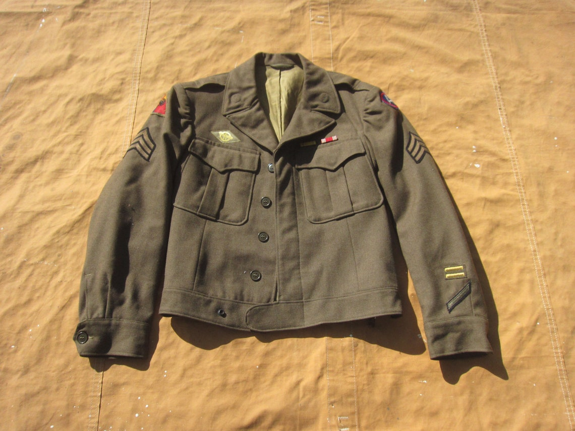 Medium / Size 38 40s Us Army Ike Jacket 14th Armored Division, Liberators, Patched, Decorated, 1940s Ww2 Wwii, Eisenhower Uniform Coat
