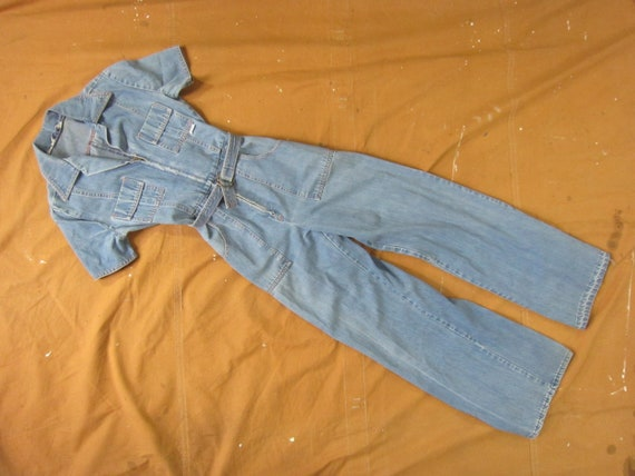 XS 70s Women's Denim Jumpsuit / Coveralls, One Pie