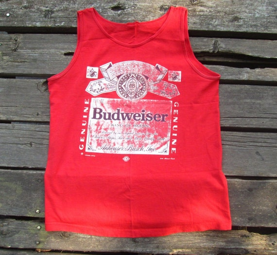 a6221a9dec09b9 Medium   Large 90s Budweiser Beer Red Tank Top   1991 Bud