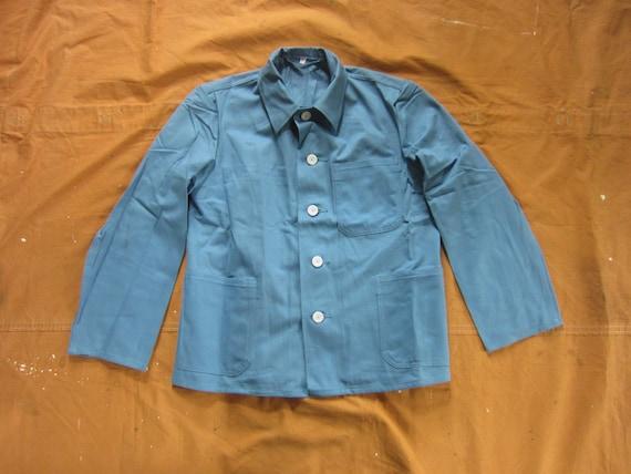 S, M, OR L 80s Blue Twill Chore Coat / European Mi