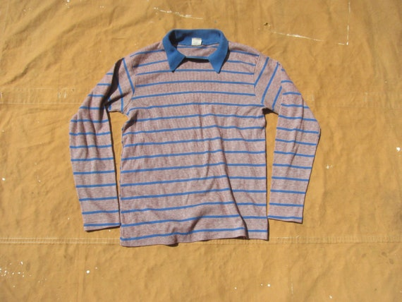 Small 60s Striped Polo Shirt / Pullover, Collared,