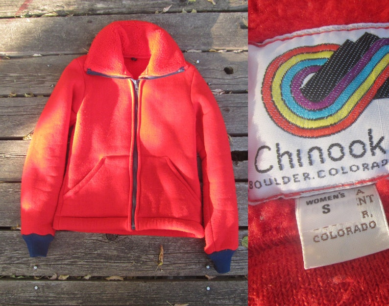 newest 6f685 2175e Small 80s Women s Reverse Pile Red Fleece Jacket   Deep   Etsy