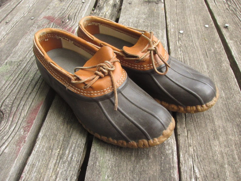 0d27ab25288 Men's 9 FITS 10 / 10.5 LL Bean Duck Shoes / Rubber Moc, Rain Boots, Made in  USA, Dark Brown Red, L.L. Bean, Rubber Toe