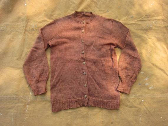 Small 30s / 40s Women's Wool Cardigan / Brown Oran