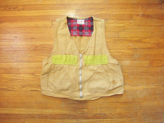 Medium 40s / 50s Western Field Hunting Vest / Canv