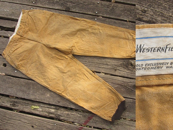shop largest selection of 2019 new appearance 34 Waist 50s Western Field Khaki Hunting Pants / Brown Duck Canvas, Tin  Cloth, Work Wear Hunter 1950s