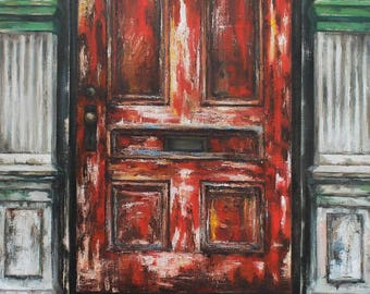 """Original Oil Painting on Canvas, """"Red Door"""", 18x24 inches"""