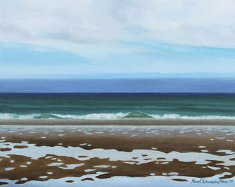 """Original Oil Painting on Canvas, """"Low Tide"""", 16x20 inches"""