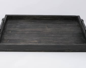 Black wooden handles gray iron serving tray