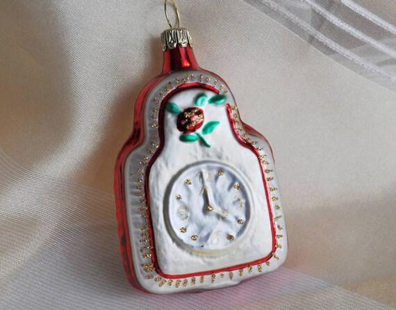 Eine Uhr Aus Glas Fur Den Weihnachtsbaum Als Dekoration Etsy