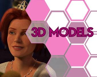 Princess Fiona crown 3d model Shrek
