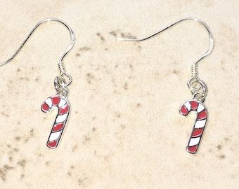 Candy Cane Earrings | Christmas Earrings | Festive | Christmas Party Earrings  | Sterling Silver | Gift | For Her