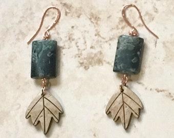 Bamboo Jasper Earrings | Copper Earrings | Coconut Wooden Leaves | Jasper Earrings | Crystal Healing | Protection | Gift | For Her