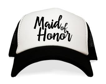 96dc0802 Maid of Honor Trucker Hat. MOH Bachelorette Party. Wedding Day. Bride Squad.  I'm Getting Married. Matron of Honor. Bridesmaid.