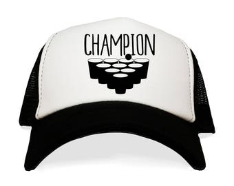 4991c17463f Champion Trucker Hat. Beer Pong Frat Boy Baseball Cap. College Party. Flip  Cup. Ping Pong Ball and Red Solo Cup. Tournament.