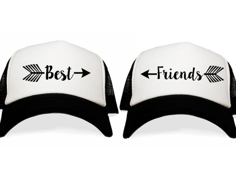 22facf3f Best Friends Trucker Hats. BFF Besties Hat Set. Gift for Girlfriends.  Minimalist Arrows. BFFs Photo Shoot. Graduation Photo Prop.