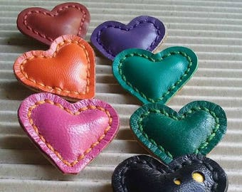 Brooch Heart Little leather Pin valentines Gift Heart Brooch