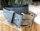 Denim Belt, Handmade Belt, Men Leather Belt, Women Leather Belt, Custom Leather Belt, Water Buffalo Leather, Distressed Leather