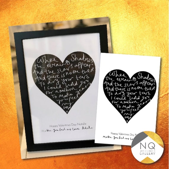 Hand written Heart Quote Print