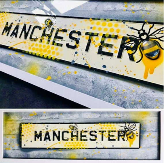 Manchester Love - Mixed Media Yellow and Grey pressed metal Sign
