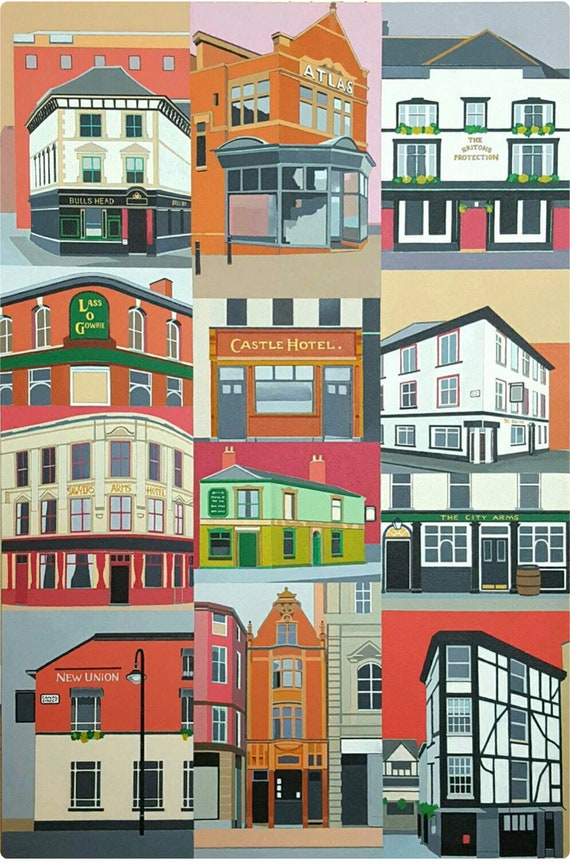 Manchester PUBS print of original acrylic painting of Mcr's iconic pubs