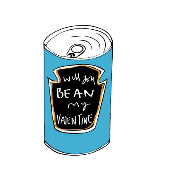 baked bean valentines greeting cards that can be personalised