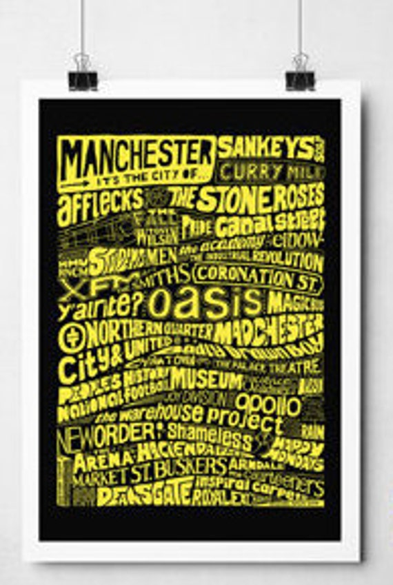 Manchester Inspired Typography Print