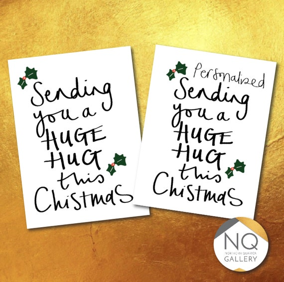 Sending a huge Covid friendly hug this Christmas - Greeting Card which can be personalised