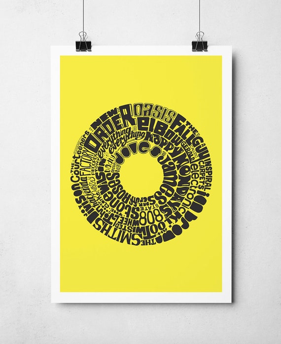 Manchester Music Print in yellow and black