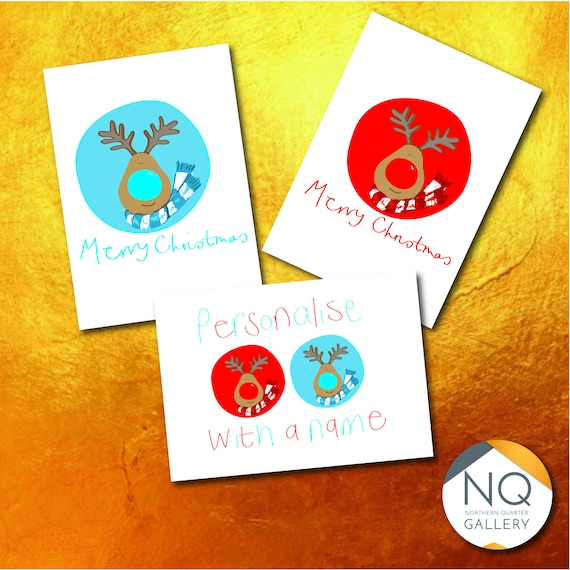 Rudolph and BlueDolph Personalised Christmas Cards