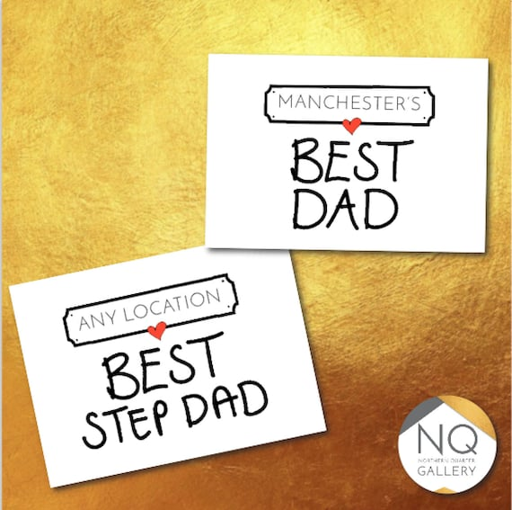Any Locations BEST Dad, Daddy, Step Dad any name fathers day personalised greeting card