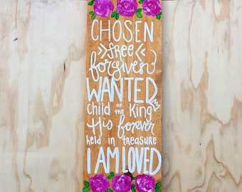 Identity in Christ Hand Painted Floral Wood Sign