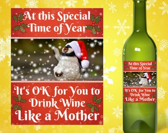 Funny Printable Christmas Wine Label For Mom Printable Etsy