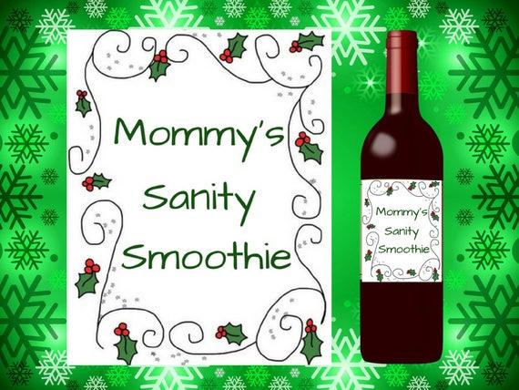 Funny Printable Christmas Wine Label Christmas Gift Etsy