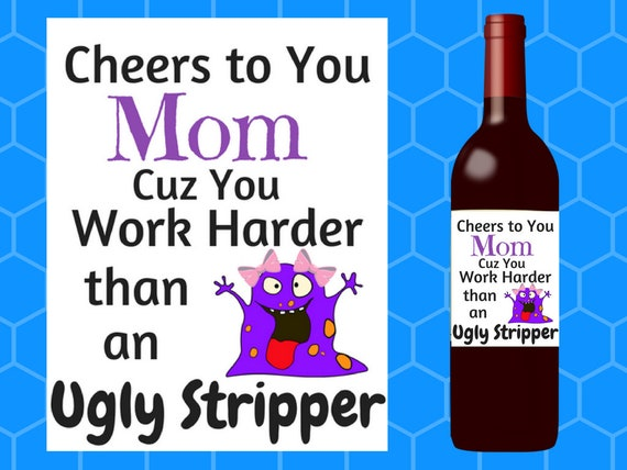 Mothers Day Gift Funny Mothers Day Gift Funny Wine Label Etsy