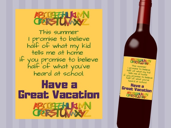 Teacher Gift Funny Teacher Printable Wine Label Funny Etsy
