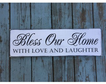"Bless Our Home With Love and Laughter Rustic Farmhouse Style Handmade Real Wooden Sign Wall Art Distressed Plaque Home Decor  7.25""x 24"""