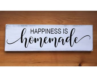 "Happiness is Homemade Rustic Farmhouse Style Handmade Wooden Sign Wall Art Distressed Home Decor  7.25""x 24"""