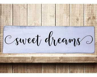 "Sweet Dreams -Modern Style Font Rustic Farmhouse Style Handmade Real Wooden Sign Wall Art Distressed Plaque Home Decor  7.25""x 24"""