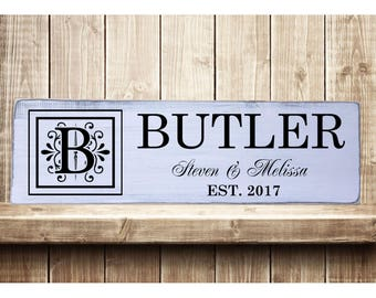 "Personalized Family Name Initial Yr Est Rustic Farmhouse Style Handmade Real Wooden Sign Wall Art Distressed Plaque Home Decor  7.25""x 24"""