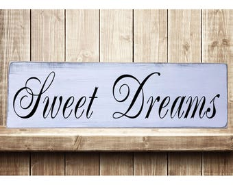 "Sweet Dreams - Classic Rustic Farmhouse Style Handmade Real Wooden Sign Wall Art Distressed Plaque Home Decor  7.25""x 24"""