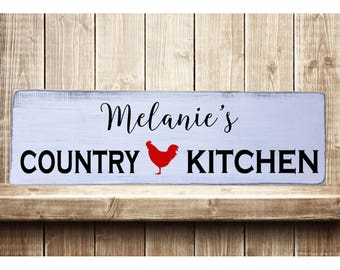 "Personalized Country Kitchen Rustic Farmhouse Style Handmade Real Wooden Sign Wall Art Distressed Plaque Home Decor  7.25""x 24"""