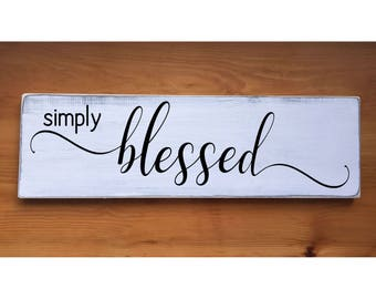 "Simply Blessed Rustic Farmhouse Style Handmade Real Wooden Sign Wall Art Distressed Plaque Home Decor  7.25""x 24"""